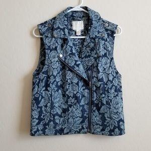 Forever 21 Premium Denim Floral Printed Vest L